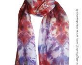 Shibori Silk scarf  hand dyed Red-blue