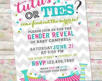Tutus or Ties Gender Reveal Invite, Gender Reveal Party, Boy or Girl, Printable Invite, Baby Gender Reveal, Pink or Blue, Printable Invite