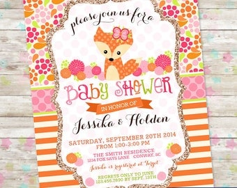 fox baby shower woodland baby shower baby girl shower flowers and stripes