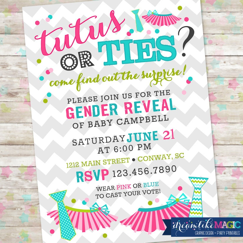 Tutus or Ties Gender Reveal Invite Gender Reveal Party Boy – Baby Gender Reveal Party Invitations