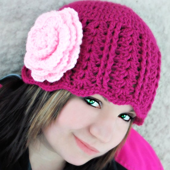 Jennifer Rose Crocheted Cloche Hat -Magenta, Pink, Rose, Flower, Stylish Winter Wear