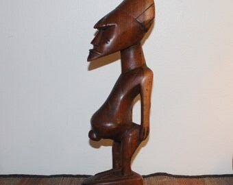 Singiti Ritual Ancestor - African Tribal Male Wood Carved Statue -  Prominent Navel - Continuity of Life