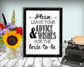 Advice And Wishes Bridal Shower Sign Printable 8x10 PDF DIY Modern Classic Black & White Please Leave Your Advice And Wishes For Bride To Be