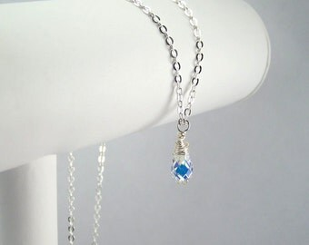 April Birthstone Necklace Sterling Silver Option Personalization Available