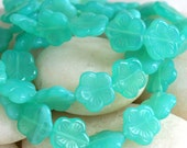 Czech Glass Flower Beads -  Czech Glass Beads - Jewelry Making Supplies - 14mm Flat Flower (15 piece strand)  Milky Seafoam