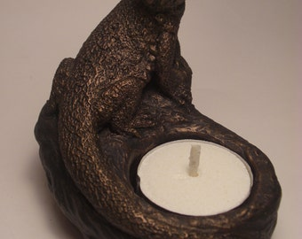 Bearded Dragon Candle Holder NEW!  bronze finish