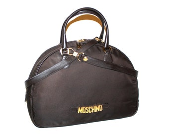MOSCHINO REDWALL Vintage Tote Brown Nylon Leather Gold Logo Bowling Bag - AUTHENTIC -