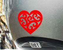 "Tribal Heart Reflective Decal / Tribal Heart Safety Sticker / Vintage Heart Helmet Decal / Scroll Heart Vinyl Decal / 1.75""h x 2""w / #709R"