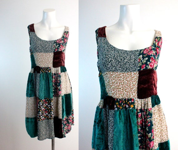 Vintage Boho Patch Dress Sz M
