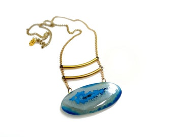 Blue Agate Necklace, Druzy Geode Necklace, Statement Necklace, Treasure Island Collection