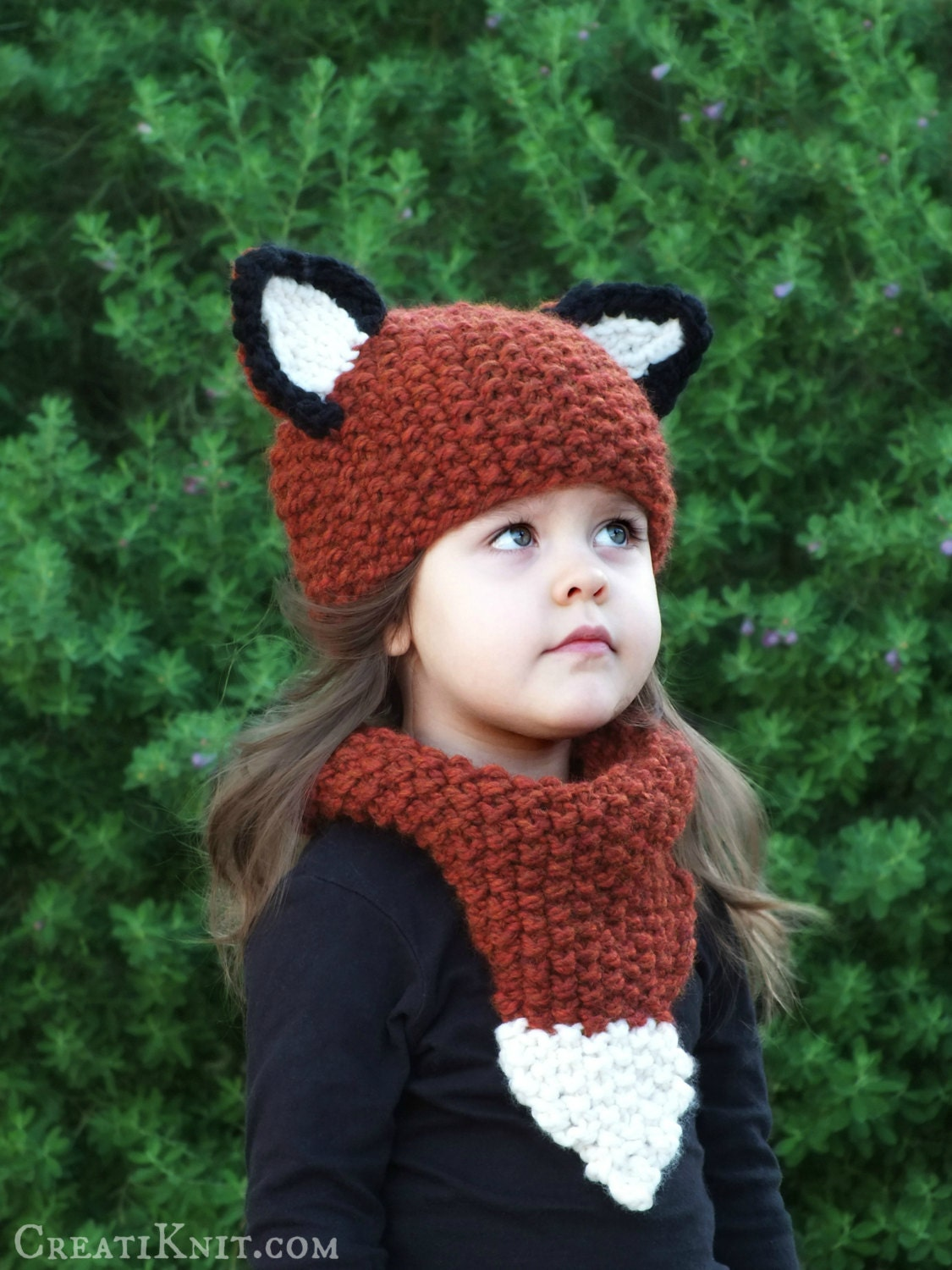Knitting Pattern For Child s Fox Hat : Knitting Pattern The Fox Hat and Cowl Set Baby Toddler
