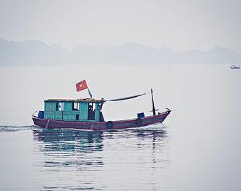 Halong Bay Fishing Boat - Vietnam Travel Photography - 8x12 Print - Nautical Art - Fishing