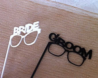 Thick Acrylic PHOTO BOOTH PROPS Bride and Groom Glasses Strong and Durable Acrylic Wedding Photo Booth Props Bride and Groom Gloasses