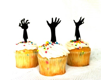 MADE In USA, Zombie Apocalypse Cupcake Toppers Set of 3 Halloween Cupcake Topper Zombie Cupcakes Zombies Cake Toppers Zombie Party