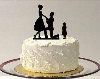 Engagement Cake Topper BRIDE + GROOM + CHILD Girl Silhouette Wedding Cake Topper Bride Groom Child Bride Groom Son Silhouette