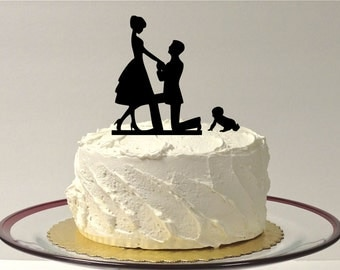 MADE In USA, Baby + Bride + Groom Engagement Cake Topper Silhouette Wedding Cake Topper Topper Family of 3  Bride Groom baby Cake Topper