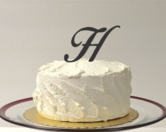 MADE In USA, Letter H- MONOGRAM Wedding Cake Topper Simple Beautiful with Personalized Monogrammed Wedding Cake Topper Custom Cake Topper