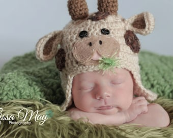 Crochet Baby Boy or Girl, Cow Hat, Custom Made To Order, Newborn, 0-3, 3-6 Months, Photo Prop, Photography Prop, Baby Shower Gift,
