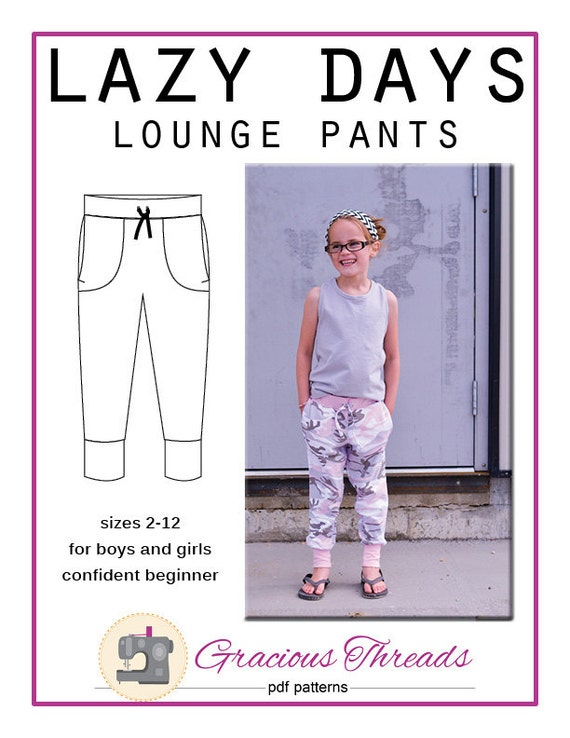 Lazy Days Lounge Pants pdf sewing pattern 2T-12