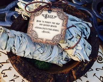 White Sage Bundle ~ Cleansing Ritual ~ Banish Unhealthy Energy ~ Chant on the Label~ Ceremonial White Sage ~ Ancient Ritual ~ Purification