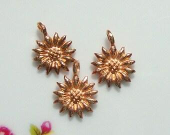 2 pcs, 12x10x2 mm, 18K Rose Gold Vermeil over Sterling Silver Sun Flower Pendant Charm, Sunflower Charm Tiny Pendant, Bali Artisan,PC-0092