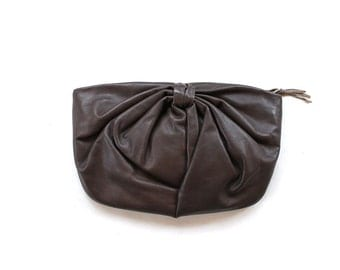 SALE Vintage Leather Clutch / Brown Leather Clutch / Bow Clutch