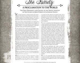 LDS Family Proclamation Printable 8x10, 11x14, or 16x20 Digital File