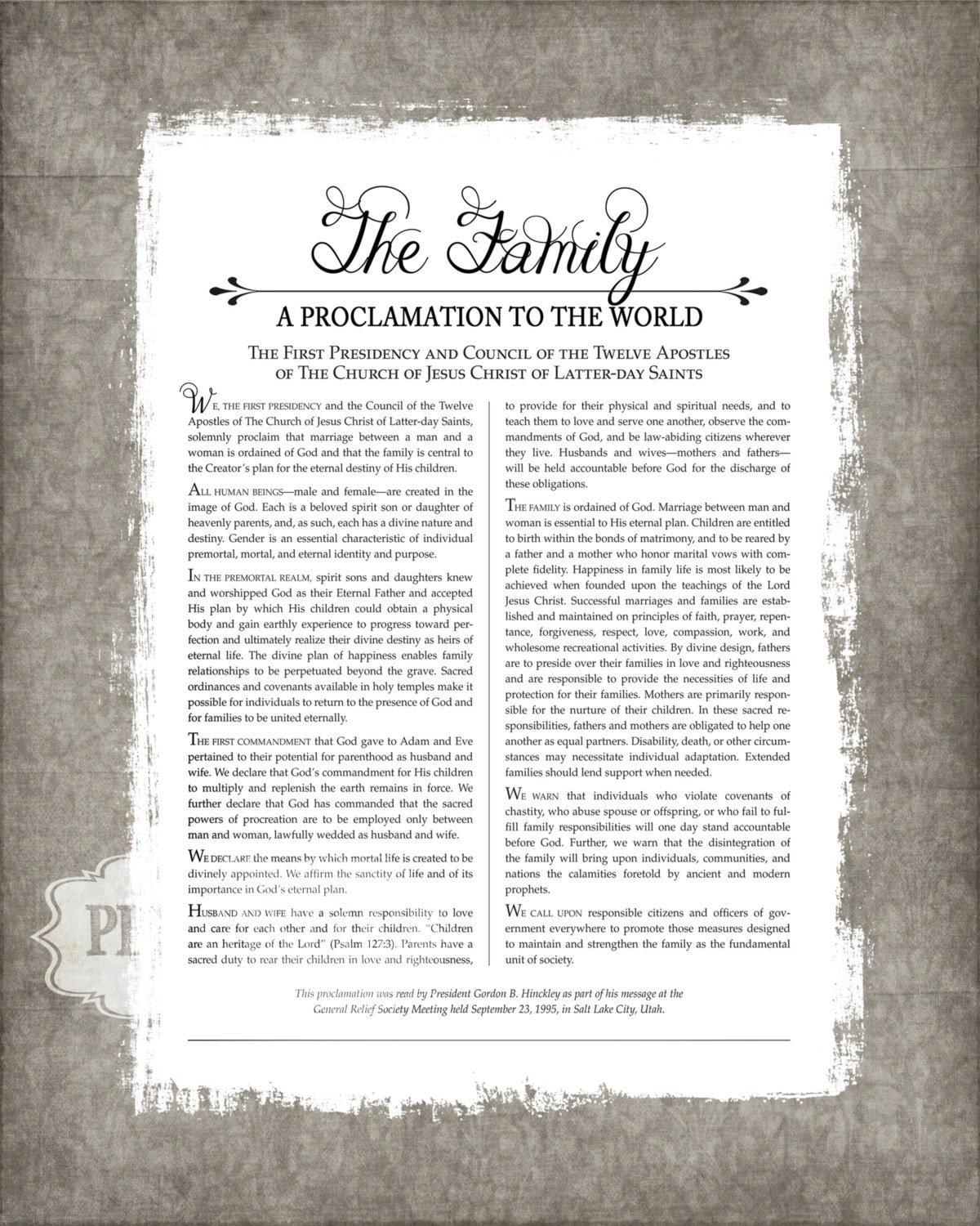 Bright image with regard to the family a proclamation to the world free printable