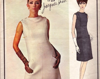 60s JACQUES HEIM High Neckline Dress Pattern Vogue Paris Original 1729 Shoulder Button Trim Size 14 inches Bust 34 Inches