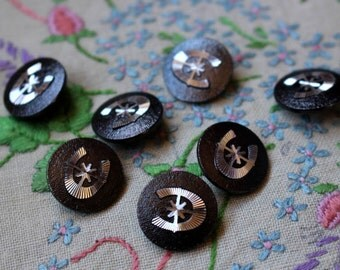 60s Vintage Metallic Buttons MID CENTURY Horse Shoe Star RETRO Shank Set of 7