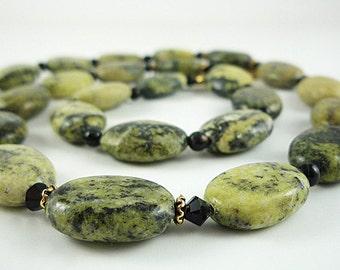 Yellow Turquoise Necklace Gemstone Necklace Yellow Green Black Beaded Necklace Yellow Turquoise Gemstone Necklace
