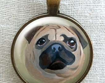 Fawn Pug Necklace ~ Original Art ~ Dog Necklace ~ March Birthday ~ Pet Keepsake