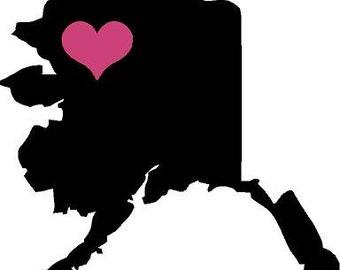 Alaska state moose heart 5.5x5 Vinyl Decal Sticker