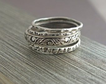 Hammered Stacking Rings, Sterling Silver Stacking Rings
