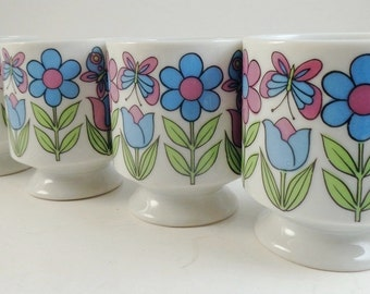 Retro Vintage Set of 4 Flower Power Stacking Coffee Cups Mugs Japan