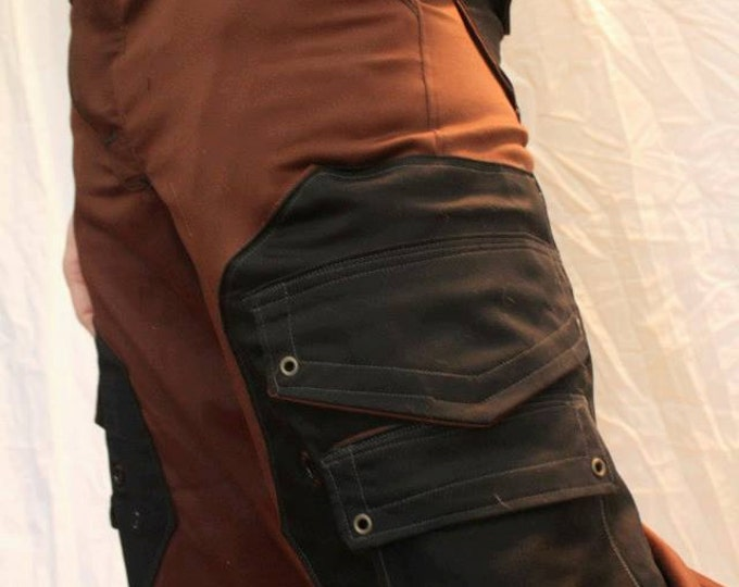 Featured listing image: Handmade Cargo Pant in a brown/Black color scheme with Octagonal Pockets