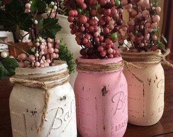 Set of 3 Mason Jars, Ball Jars, Distressed Painted Mason Jar, Rustic Wedding, Wide Mouth Mason Jars, Distressed mason Jar