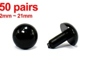 50 pairs - 2mm to 21mm Japanese Black Animal Safety Eyes Plastic Eyes with Metal Washer 17 Size