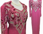 Beaded sequins gown, evening gown in raspberry pink and silver