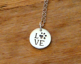 Love Pawprint Sterling Silver Animal Lover Necklace
