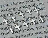 Tiny Sterling Silver Crosses (10PK, 25PK, 50PK, 100PK) - C1304, Bulk Discounts, Christ, Blessed, Tiny Cross Charms