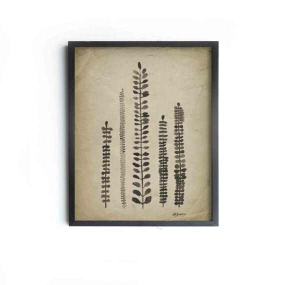 "Rustic Ferns Archival Art Print - Ferns 8""x10"", 5""x7"", 9""x12"" or 11""x14"" - Modern Wall Decor - Vintage Inspired Art"