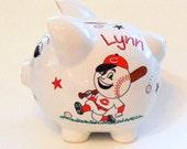 Piggy Bank Cincinnati Reds Baseball Personalized