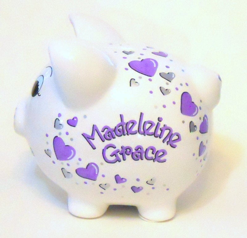 Personalized piggy bank lavender and silver hearts - Engraved silver piggy bank ...