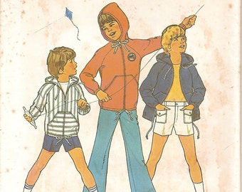 Vintage 70s Child's Shorts Long Pants Hooded Jacket Sewing Pattern - Simplicity 6955 Size 10 Boys Girls UNCUT