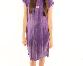 SILVIA 80s Rad Purple Edgy Silky Sleek Cap Sleeve Shoulder Pad Glam Hip Dress Small Medium