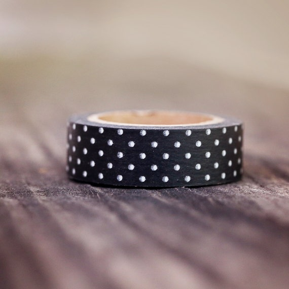 Black with White Mini Dots -  Single Roll 15mm ||Rustic Wedding, Classy Wedding, Black and White Wedding