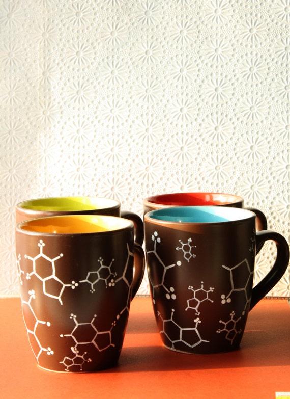Cafeine molecule mugs -  set of four
