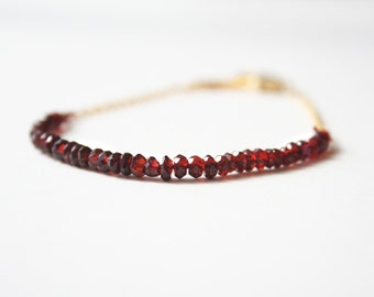 Red Garnet Bracelet, Red Bracelet, January Birthstone