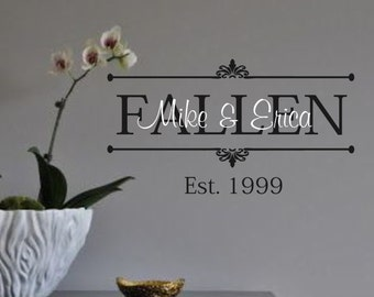 Family Vinyl Wall Decal -Personlaized Last name, Names, and Est Date- Vinyl Wall Decal Lettering